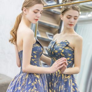 Modern Gradiëntkleur Galajurken 2019 A lijn Strapless Mouwloos Ruglooze Lange Gala Gelegenheid Jurken