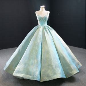 Luxury / Gorgeous Mint Green Satin Prom Dresses 2020 Ball Gown Spaghetti Straps Sleeveless Beading Floor-Length / Long Ruffle Backless Formal Dresses