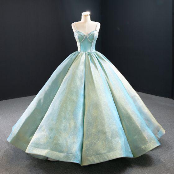 Luxury / Gorgeous Mint Green Satin Prom Dresses 2020 Ball Gown Spaghetti Straps Sleeveless Beading Floor-Length / Long Ruffle Backless Formal Dresses