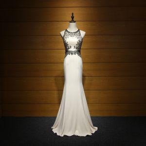 Piękne Sukienki Wizytowe 2017 Sukienki Wieczorowe Szampan Syrena / Rozkloszowane Trenem Sweep Wycięciem Bez Rękawów Bez Pleców Frezowanie Kryształ Cekiny