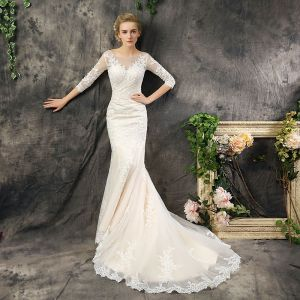 Modest / Simple Church Hall Wedding Dresses 2017 Champagne Trumpet / Mermaid Court Train Scoop Neck 3/4 Sleeve Backless Crossed Straps Lace Appliques