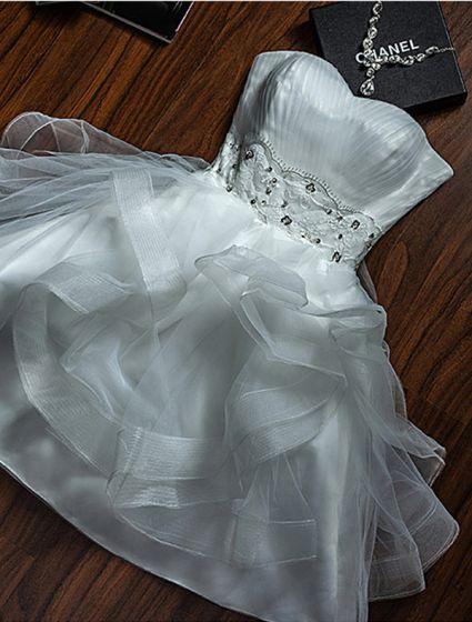 Sexy Gray Party Dress Strapless Backless Short Graduation Dress Cascading Ruffles