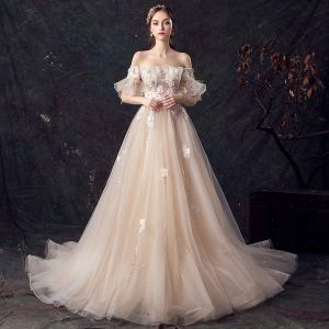 1a045e6b7a0d Elegant Champagne Wedding Dresses 2019 A-Line / Princess Off-The-Shoulder  Bell