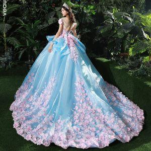Blue and pink wedding dress