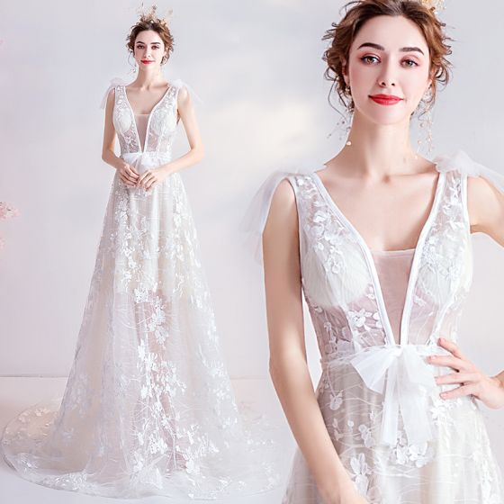 Affordable Ivory Beach Wedding Dresses 2020 A-Line / Princess V-Neck Bow Lace Flower Sleeveless Backless Court Train