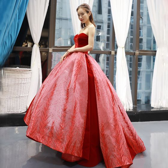 High-end Red Suede Prom Dresses 2020 Ball Gown Sweetheart Sleeveless Beading Appliques Sequins Sweep Train Ruffle Backless Formal Dresses
