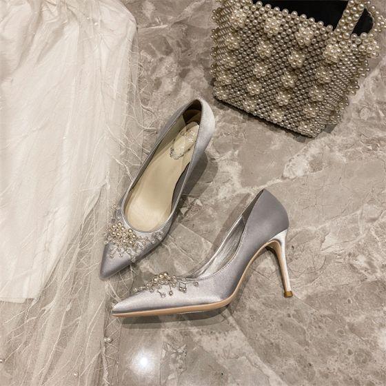 Elegant Grey Prom Satin Pumps 2020 Pearl 10 cm Stiletto Heels Pointed Toe Pumps