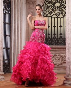Organza Charmeuse Beads Embroidery Sweetheart Ankle Length Prom Dresses