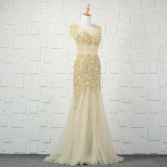 Luxury / Gorgeous Champagne Handmade  Beading Evening Dresses  2019 Trumpet / Mermaid Pearl Tassel Crystal Rhinestone Sequins Scoop Neck Sleeveless Backless Sweep Train Formal Dresses