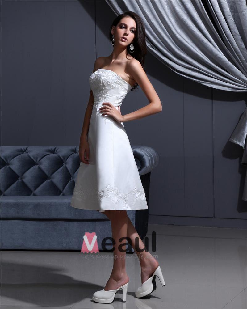 Strapless Lace Up Sleeveless Embroidery Beading Knee Length Satin Woman Short Wedding Dress