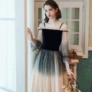 Mode Schwarz Champagner Farbverlauf Abendkleider 2020 A Linie Off Shoulder Star Pailletten Lange Ärmel Rückenfreies Lange Festliche Kleider