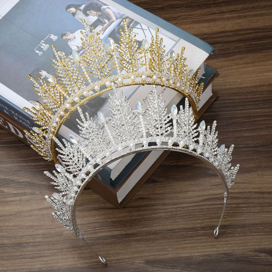 Chic / Beautiful Leaf Tiara Bridal Hair Accessories 2020 Alloy Pearl Rhinestone Wedding Accessories