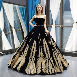 Luxury / Gorgeous Navy Blue Suede See-through Prom Dresses 2019 Ball Gown Scoop Neck Sleeveless Gold Appliques Lace Beading Bow Sash Floor-Length / Long Ruffle Backless Formal Dresses