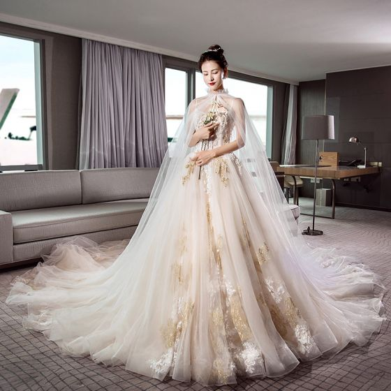 Elegant Champagne Wedding Dresses With Shawl 2019 A-Line / Princess Spaghetti Straps Sleeveless Backless Appliques Lace Pearl Beading Cathedral Train Ruffle