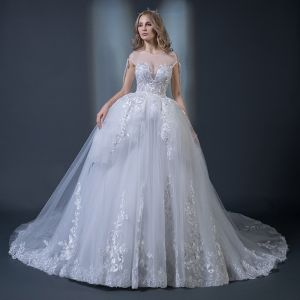 Elegant White See-through Wedding Dresses 2018 Ball Gown Scoop Neck Backless Appliques Lace Beading Ruffle Chapel Train