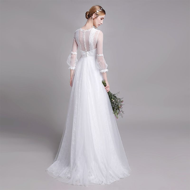 Modest / Simple White Beach Wedding Dresses 2019 A-Line / Princess Scoop Neck Pearl Lace Flower 3/4 Sleeve Floor-Length / Long