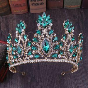 Traditional Dark Green Rhinestone Tiara Bridal Hair Accessories 2020 Alloy Accessories