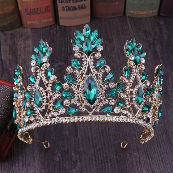Traditional Dark Green Rhinestone Tiara Bridal Hair Accessories 2020 Alloy Accessories