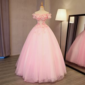 Lovely Pearl Pink Prom Dresses 2017 Ball Gown Off-The-Shoulder Short Sleeve Appliques Flower Pearl Rhinestone Floor-Length / Long Backless Formal Dresses