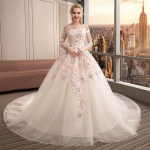 Colored Ivory See-through Wedding Dresses 2019 Ball Gown Scoop Neck Long Sleeve Backless Appliques Lace Pearl Cathedral Train Ruffle
