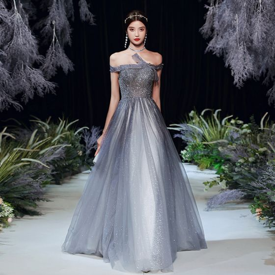 Fashion Grey Prom Dresses 2020 A-Line / Princess Off-The-Shoulder Short Sleeve Beading Sequins Glitter Tulle Sweep Train Ruffle Backless Formal Dresses
