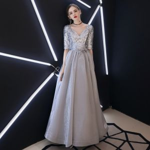 Charmant Argenté Robe De Soirée 2019 Princesse V-Cou Paillettes 1/2 Manches Dos Nu Longue Robe De Ceremonie