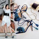 Modern / Fashion Ink Blue Womens Sandals 2017 Open / Peep Toe Strappy Tassel Leather High Heels