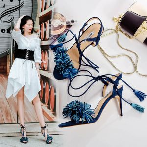 Modern / Fashion Ink Blue Womens Sandals 2017 Open / Peep Toe Strappy Tassel Leather High Heels