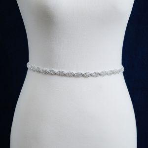 Klassisk Elegant Hvide Bryllup Skærf  2020 Metal Satin Håndlavet Beading Rhinestone Selskabs Galla Accessories