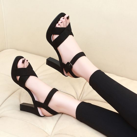 Affordable Black Casual Womens Sandals 2020 Ankle Strap 10 cm Thick Heels Open / Peep Toe Sandals