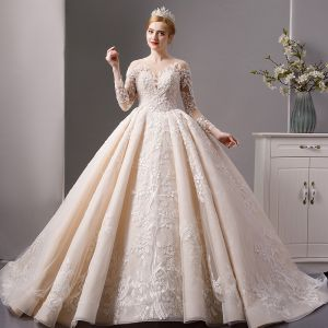 Luxury / Gorgeous Champagne See-through Wedding Dresses 2019 Ball Gown Square Neckline 3/4 Sleeve Backless Appliques Pierced Lace Beading Royal Train Ruffle