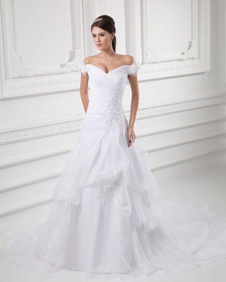 Organza Perlen Blume Off-the-schulter Hofzug A Linie Hochzeitskleid
