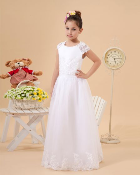 Cute A-Line Jewel Floor Length Satin Organza Flower Girl Dress