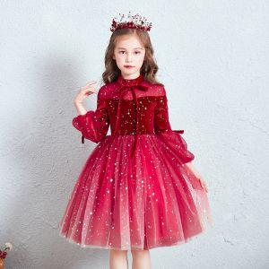 Schöne Rot Durchsichtige Geburtstag Blumenmädchenkleider 2020 Ballkleid Stehkragen Geschwollenes 3/4 Ärmel Star Pailletten Kurze Rüschen