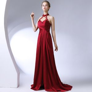 Amazing / Unique Burgundy Evening Dresses  2017 Lace Appliques Backless Beading Evening Party Formal Dresses