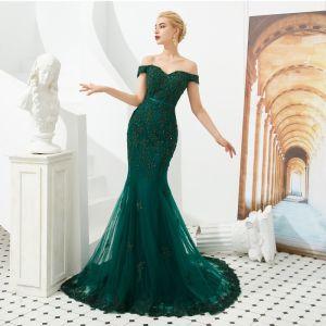 Elegant Dark Green Evening Dresses  2019 Trumpet / Mermaid Off-The-Shoulder Short Sleeve Sash Appliques Lace Beading Sweep Train Ruffle Backless Formal Dresses