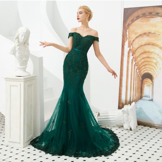 0ca2f22068fe5 Elegant Dark Green Evening Dresses 2019 Trumpet / Mermaid Off-The-Shoulder  Short Sleeve Sash Appliques Lace Beading Sweep Train Ruffle Backless Formal  ...