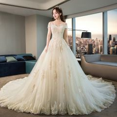 Chic / Beautiful Champagne Wedding Dresses 2019 A-Line / Princess Off-The-Shoulder Short Sleeve Backless Appliques Lace Beading Glitter Tulle Cathedral Train Ruffle