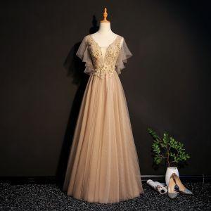 Elegante Champagner Ballkleider 2019 A Linie Spitze Applikationen Perlenstickerei Kristall V-Ausschnitt Kurze Ärmel Rückenfreies Lange Festliche Kleider