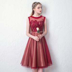 Modern / Fashion Red See-through Homecoming Graduation Dresses 2019 A-Line / Princess Scoop Neck Sleeveless Appliques Lace Sequins Metal Sash Knee-Length Ruffle Formal Dresses