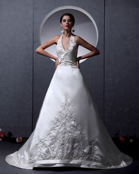 Charmeuse Chiffon Ruffle Applique Strapless Chapel A-Line Bridal Gown Wedding Dresses