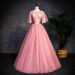 Elegant Candy Pink Prom Dresses 2019 A-Line / Princess Scoop Neck 1/2 Sleeves Beading Lace Flower Backless Floor-Length / Long Formal Dresses