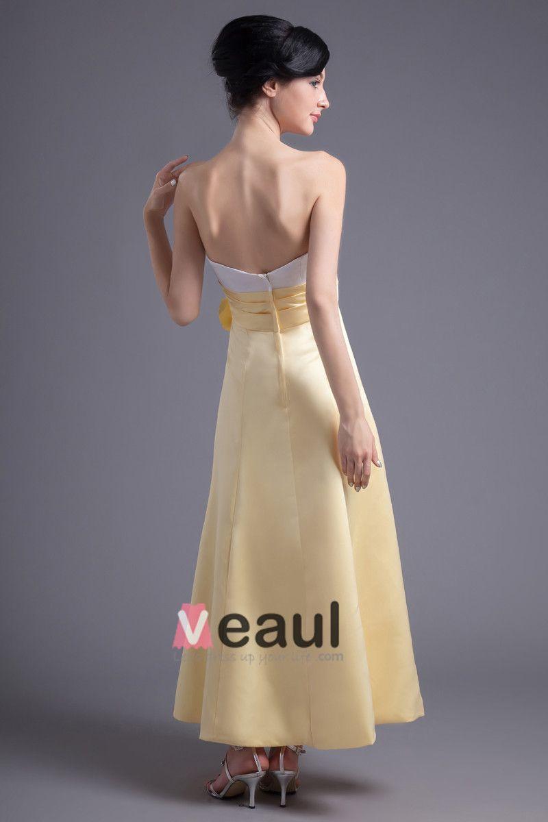 Fashion Flower Strapless Ankle Length Satin Bridesmaid Dress