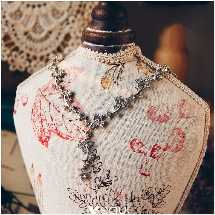 Romantic Silver Necklace 2017 Rhinestone Metal Accessories Bridal Jewelry