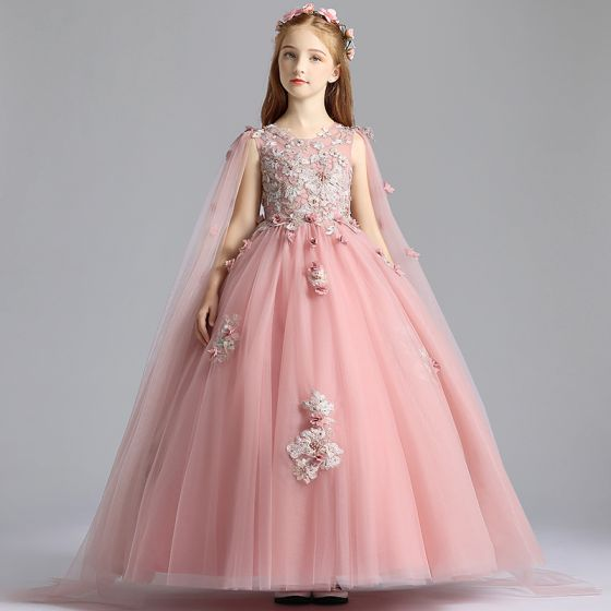 Chic / Beautiful Pearl Pink Flower Girl Dresses 2019 A-Line / Princess Scoop Neck Sleeveless Appliques Lace Flower Pearl Watteau Train Ruffle Wedding Party Dresses