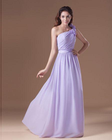 Chiffon Ruffle Flower One Shoulder Floor Length Bridesmaid Dress