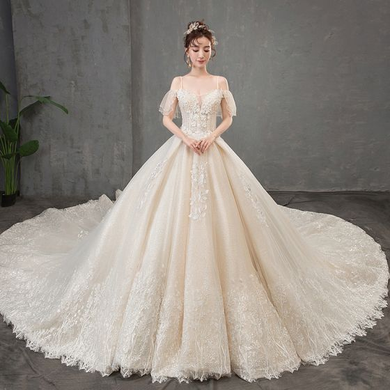 Elegant Champagne Wedding Dresses 2019 A-Line / Princess Spaghetti Straps Short Sleeve Backless Appliques Lace Beading Pearl Sequins Glitter Tulle Cathedral Train Ruffle