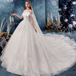 Chic / Beautiful Ivory Wedding Dresses 2019 A-Line / Princess Off-The-Shoulder Bow Short Sleeve Backless Appliques Lace Cathedral Train Ruffle