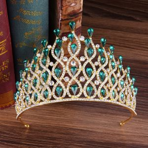 Stunning Dark Green Rhinestone Tiara 2020 Alloy Bridal Hair Accessories