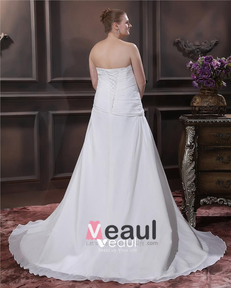 A-Line Strapless Sweep Bead Chiffon Satin Plus Size Wedding Dress